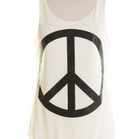 LOU LOU Black Peace Sleeveless Top  - Love