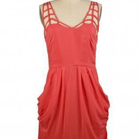 Red Dress with Pleated Pockets & Lattice Neckline