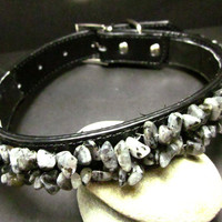 Large Black Leather Pet Collar With Labradorite Stone Chip Beads