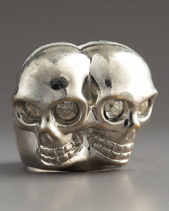 Conjoined Skull Ring, Silvertone