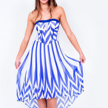 Nautical But Nice Hi Lo Dress