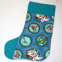 Holiday Christmas Stocking,Looney Tunes, Handmade by Sewinggranny