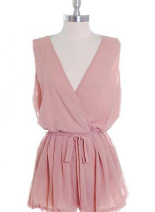 Pink Chiffon Sleeveless Romper with Sash Tie Front
