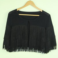 Black Fringed Cropped Cardigan