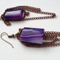 Draped Chain Earrings with Purple Agate