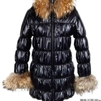 Women New Slim Furs Neck Thick Zipper Pure Color Long Sleeve Black Polyamaid Coats S/M/L@TS111037b $103.99 only in eFexcity.com.
