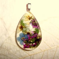 Forget-me-not, Bridal Veil and Alyssum Real Pressed Flower Pendant