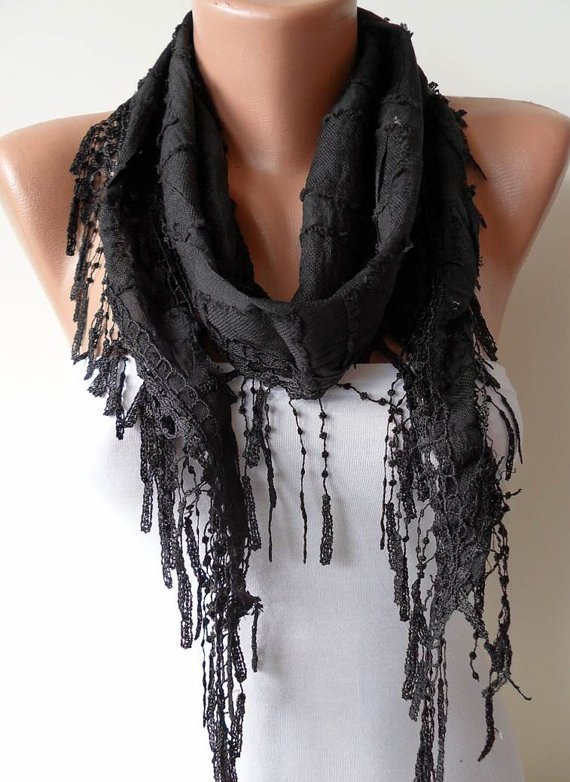 Black Scarf - Cotton Fabric with Black Trim Edge
