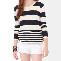 Mixed Striped Pocket Sweater