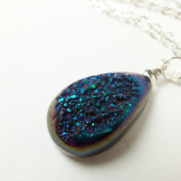 Druzy Necklace - Blue and Purple Druzy Stone Jewelry - Sterling Silver Necklace - Druzie - Drusy