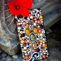 Sparkly Orange Custom iPhone 4/4S Case- Majestic Mandarin
