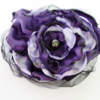 Purple and Lavender Flower Accessory, Hair Clip or Pin Brooch, Wedding, Bridal Sash
