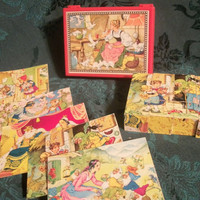 Vintage Grimm's Fairy Tale Children's Puzzle Blocks in Original Plastic Case with Lithographs - Made in West Germany