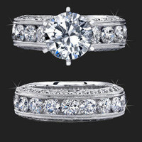 This beautiful engagement ring set is crafted from 14k gold and is also available in 18k Gold, Platinum, and Palladium