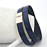 Navy blue leather bracelet double wrapped with magnetic clasp