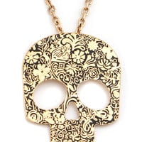 floral-swirl-skull-necklace GOLD - GoJane.com