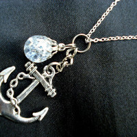 Anchor Crystal Crackle Glass Marble Dangle Nautical Necklace