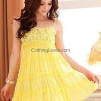 Women Chiffon Spaghetti Straps Beads Pleating Yellow One Size Dress @MF3305y for $18.66 only in ClothingLoves.com.