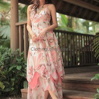 Women Chiffon Peacock Flower Spaghetti Straps V Neck Long Pink Dress S/M@MF5056 for $27.27 only in ClothingLoves.com.