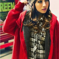 Women/Girl Red Single-Breasted Thickened Loose Free Size Knitting Sweater@T882r - $19.46 : DressLoves.com.