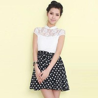 Polka Dot Lace Chiffon Dress - Designer Shoes|Bqueenshoes.com