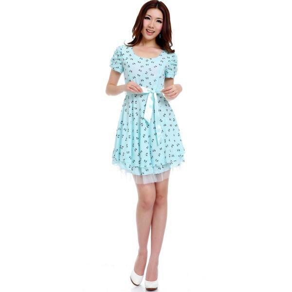 Puff Sleeve Chiffon Short Sleeve Round Neck Dress Blue - Designer Shoes|Bqueenshoes.com