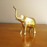 Vintage Brass Elephant Figurine, Elephant Statue, African Animal Collectible
