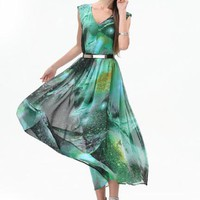 Star Chiffon Long Dress TFHLTN0801E - Designer Shoes|Bqueenshoes.com