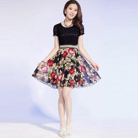 Slim Lace Silk Floral Dress - Designer Shoes|Bqueenshoes.com