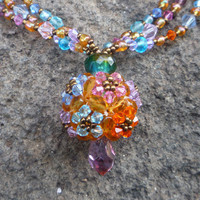 Statement necklace. Colorful beads necklace, Flowers necklace, Orange ,purple , pink , aqua, blue. Ball pendant. OOAK