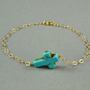SALE: Turquoise Sideways Cross Bracelet, 14K Gold Filled Chain, Simple, Delicate, also in Sterling Silver Chain