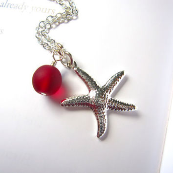 Red Sea Glass starfish necklace - Bridesmaids jewelry for beach wedding