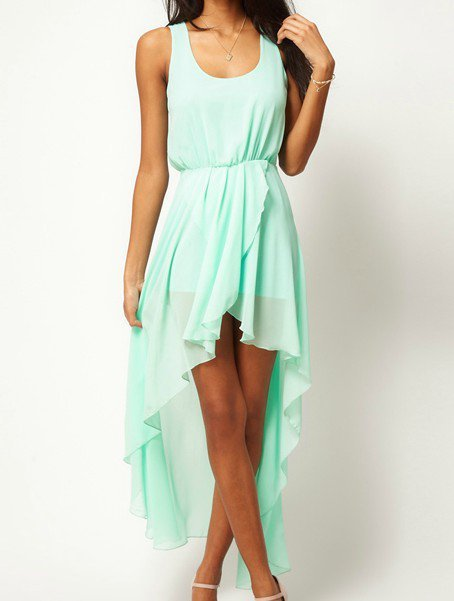 Light Green Scoop Neck Sleeveless Asymmetrical Mid Waist Chiffon Dress - Sheinside.com