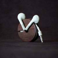 Wood Earbud Holder / Earphone Organizer - East Indian Rosewood