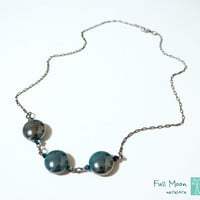 Teal Full Moon Necklace, Shining Round Dark Turquoise Beads