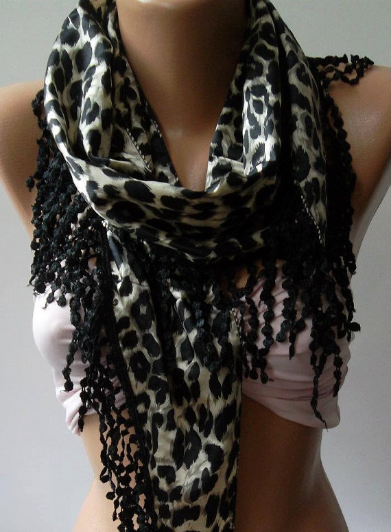 Elegant  Shawl / Scarf with Lacy Edge / Leopard.