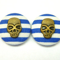 Button Earrings Blue- White Stripes Nautical Skull Rockabilly Pirat