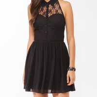 Buttoned Lace Halter Dress
