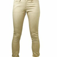 "Slim fit pants with silver back-pockets ""JUN"" - beige - Ourstyle Boutique"