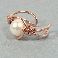 Copper and Pearl Ear Cuff or Choice of 56 beads