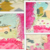 LET'S GO CAMPING Baby Rag Quilt Blanket for Girls