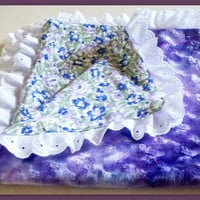 NEW HANDMADE GIRLS BABY COMFORT BLANKET QUILT MINKY/FLORAL COTTON BROIDERIE TRIM
