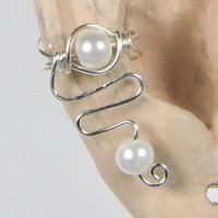 Ear Cuff Sterling Silver and Pearl Lobe Enhancer or Choose your Bead