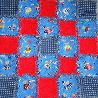 NFL Teddy Bear Baby Rag Quilt Blanket Denim and Flannel