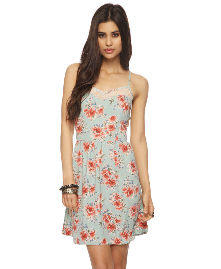 Lace Inset Floral Dress
