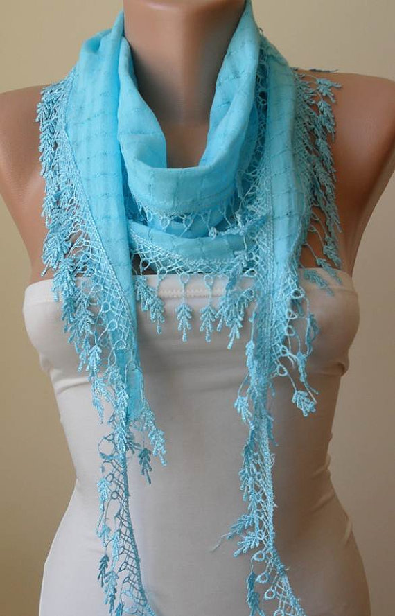 Blue Cotton Scarf with Trim Edge - Summer Collection