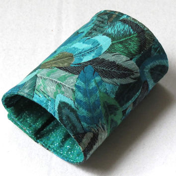 Wrist Wallet, Zippered Wrap Cuff, Hands-free, Secure, Turquoise Feathers
