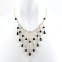 Chains & Black Beads Necklace Chevron Bib Choker Drape - Unique Women Jewelry, One of a Kind OOAK