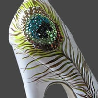 Peacock Heels by The Painted Shoe Design Studio