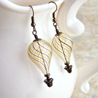 Hot Air Balloon Earrings - Steampunk balloon earrings in blown glass and brass  - Hot Air Balloon Jewelry - Steampunk Earrings